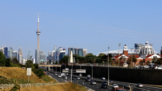 View by the Gardiner Expressway towards city center in Toronto 4K video