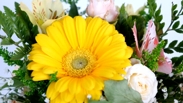 view from above, close-up. Flowers, bouquet, rotation on white background, floral composition consists of gerbera, Rose pion-shaped, Alstroemeria, solidago, gypsophila, Arachniodis video