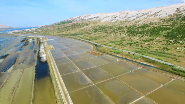 View from above of salt extraction ponds on Pag island, Croatia video