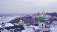 View from above to Kiev Caves Monastery in winter video
