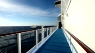view from cruise ship moving in beautiful blue sea with nice sky and cloud video
