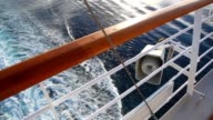 View from deck of cruise liner on sea with tarce video