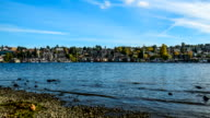 View from Gasworks park on Lake Union, city of Seattle skyline video