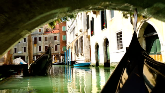 View from gondola during the ride through the canals of Venice, Italy video