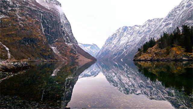 view from Gudvangen village towards fjord, Norway video