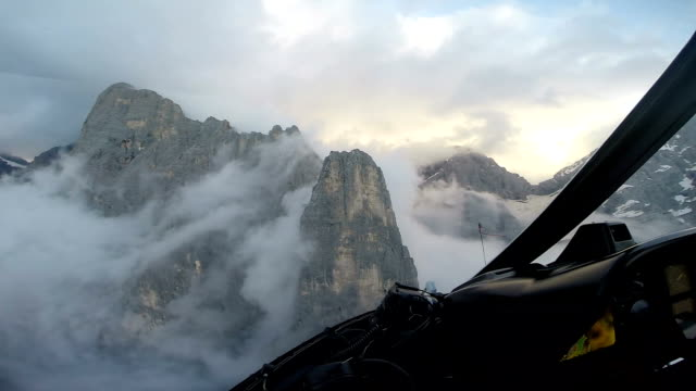 View from helicopter while traversing mountain ridges video