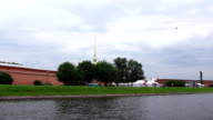View from Kronverksky Strait to Peter and Paul Fortress spire video
