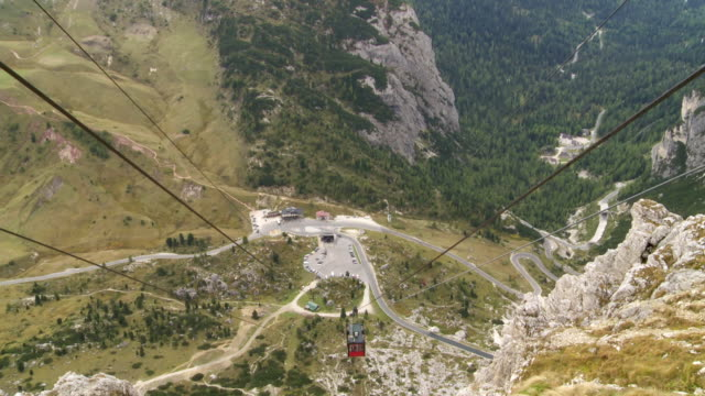 View from Lagazuoi Cable Car to Falzarego Pass video