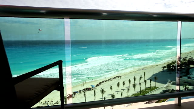 View from luxury resort balcony on caribbean sea video