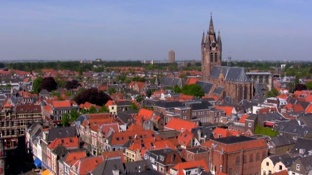 View from Nieuwe on Oude kerk, Delft, Netherlands video