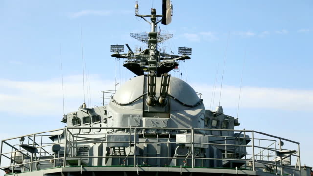 view from the deck of a warship video