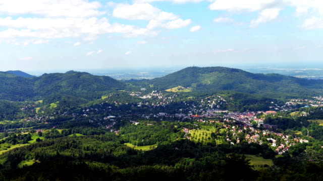View from the Merkur mountain in Baden-Baden (Germany) video