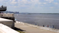 View from the promenade on the Volga river video