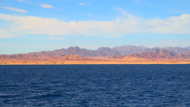 View from the ship to the mountains of the Sinai peninsula video