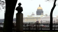 View from the Vasilievsky Island St. Isaac's Cathedral video