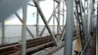 View from train on railway bridge video