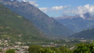 View from Vinschgau Valley and Naturns in South Tyrol PAN video