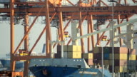 View Loading Containers On A Cargo Ship video