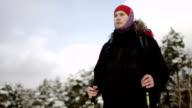 view of a Hiking traveler at winter lake video