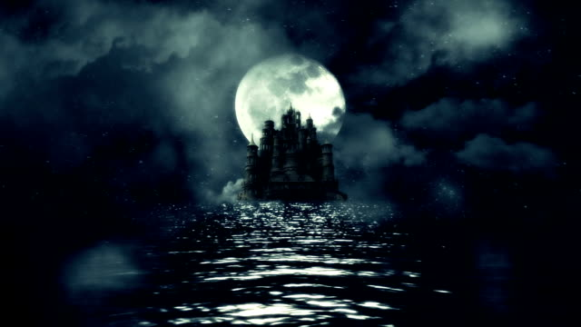 A View of a Huge Black Castle in The Middle of the Sea with a Rising Full Moon Background video