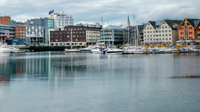 View of a marina in Tromso, North Norway video