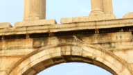 View of Acropolis and Parthenon temple through Hadrian's Arch in Athens, Greece video