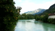 View of alpsee lake and bavarian alp at fussen, germany. video