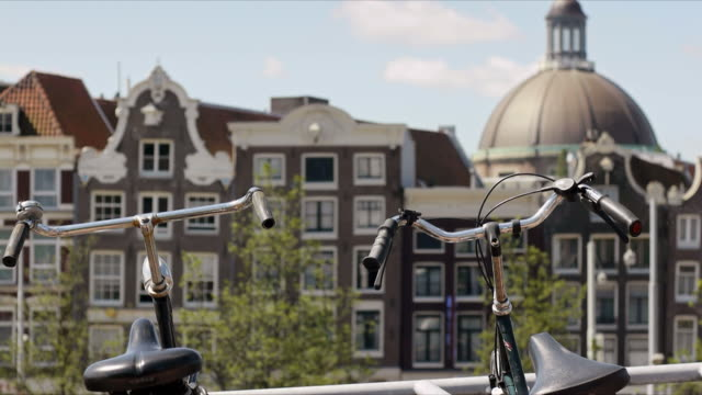 View of Amsterdam traditional houses video