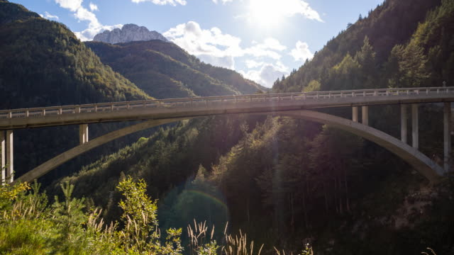 View of an arch bridge in the mountainside video