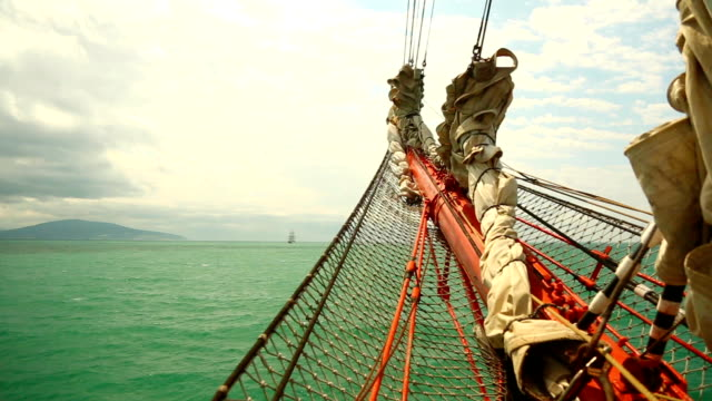 view of an old sailing ship video