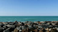 4K view of beautiful waves off Dubai's shore. video