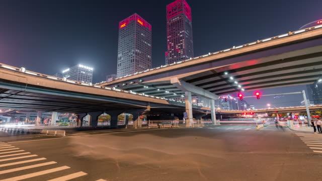T/L WS LA PAN View of Beijing CBD Area at Night video