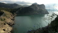 View of Blue bay and mount Karaul-Oba. Mountains in Crimea at Black sea video