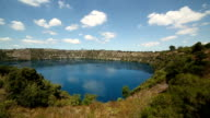 View of blue lake volcanic crater at Mount Gambier-South Australia video
