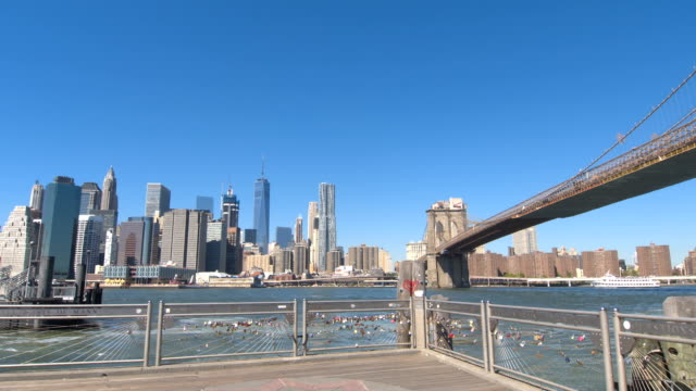 LOW ANGLE VIEW: View of Brooklyn Bridge and Lower Manhattan downtown from jetty video