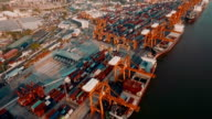 View of cargo containers port video