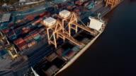 View of cargo ship at cargo terminal video