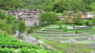 view of China with farm houses, Chengdu, China video