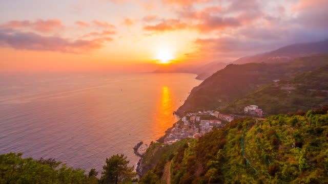 View of colorful city in Cinque Terre, Italy at sunset video