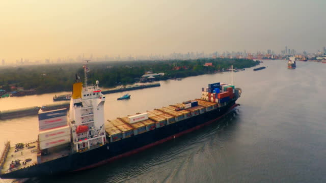 View of container ship travelling in river video