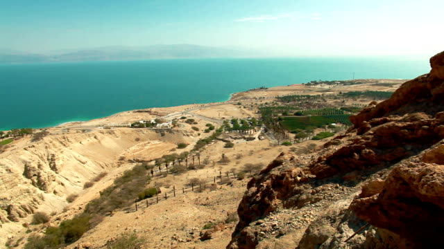 view of dead sea from ein gedi video
