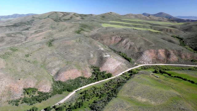 View of dirt road from helicopter. video