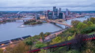 View of downtown Pittsburgh from top of the Duquesne Incline, Mount Washington video