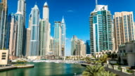 View of Dubai Marina modern Towers in Dubai at day time timelapse video