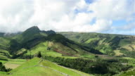 View of eastern coastal area of Flores Island on Azores video