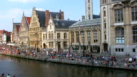 View of famous medieval quayside, Ghent, Belgium video