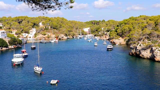 View of fishing harbour Cala Figuera ( Santanyí ) of Balearic Islands Majorca / Spain video