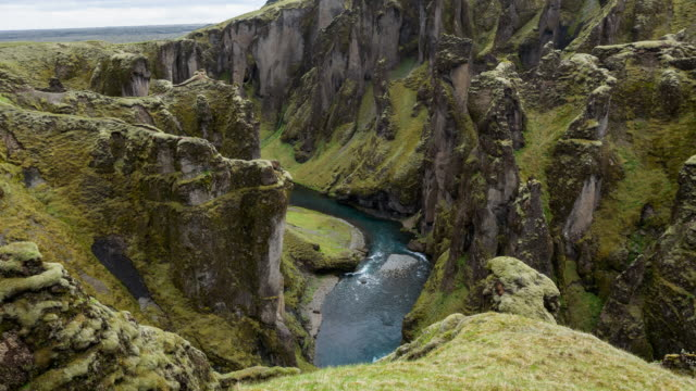View of Fjadrargljufur canyon looking towards the ocean, Iceland video