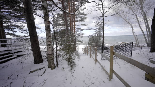 view of georgian bay ontario canada in winter with snow trail to the lake video