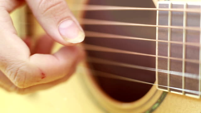 View of hand playing guitar video
